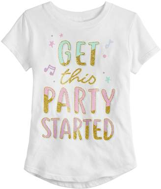"""Girls 4-10 Jumping Beans """"Get This Party Started"""" Glittery Graphic Tee"""