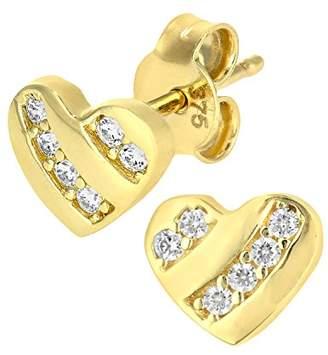 Citerna 9 ct Heart Stud Earrings Set with CZ Stones xAzfKw44x