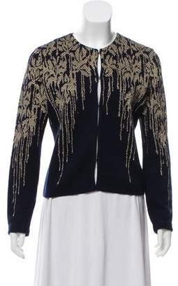 Blumarine Metallic Intarsia Knit Cardigan