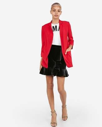 Express Velvet Ruffle Mini Skirt