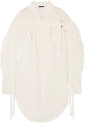 Ann Demeulemeester Appliqued Asymmetric Ruched Cotton Shirt
