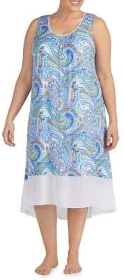 Ellen Tracy Plus Paisley-Print Sleeveless Nightgown