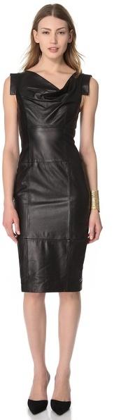 Black Halo Leather Jackie O Dress