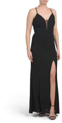 High Slit Deep V Glitter Gown