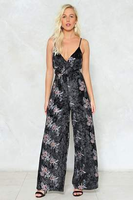 Nasty Gal When All is Thread and Done Velvet Jumpsuit