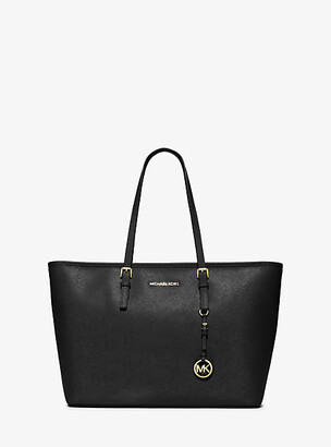 Michael Kors Jet Set Travel Medium Saffiano Leather Top-Zip Tote $298 thestylecure.com