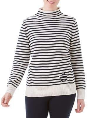 Olsen Nordic Mood Star Stripe Mockneck Sweater