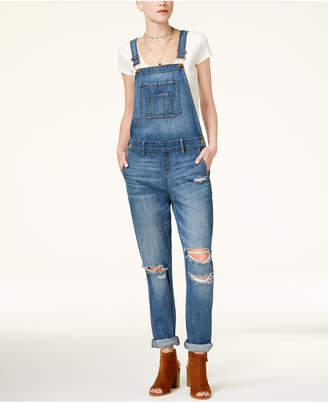 American Rag Juniors' Ripped Cuffed Overalls