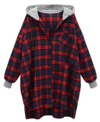 Yiwa Women's Fashion Casual Plus Size Drop Shoulder Sleeve Hooded Plaid Loose Coat Red L