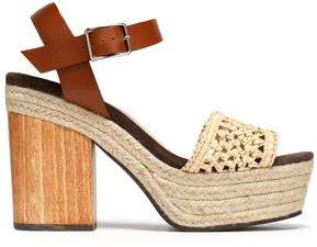 Castaner Mia Leather And Raffia Platform Sandals