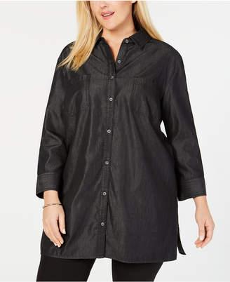 Karen Scott Plus Size Chambray Tunic