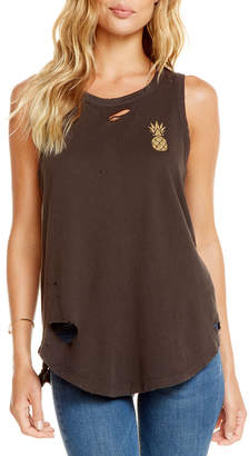 Chaser Glitter-Pineapple Distressed Muscle Tee