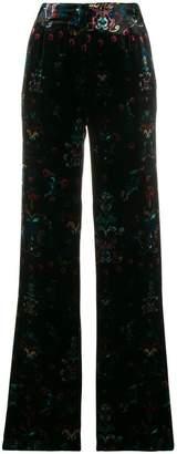 AILANTO floral print velvet trousers