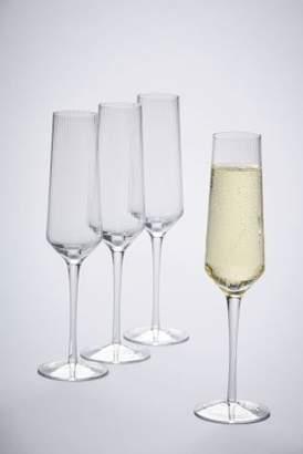 Next Set of 4 Optic Rib Champagne Flutes