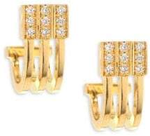 Melissa Kaye Izzy Diamond& 18K Yellow Gold Huggie Hoop Earings