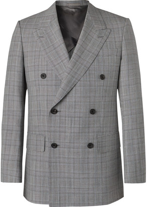 Kingsman Grey Slim-Fit Unstructured Double-Breasted Houndstooth Summer-Weight Wool Suit Jacket - Men - Gray