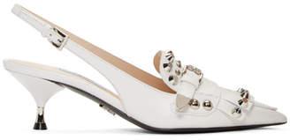 Prada White Studded Heels