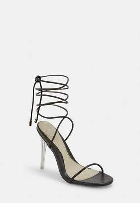 Missguided Black Skinny Strap Wrap Sandal Heels