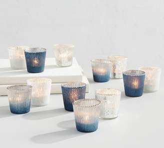 Pottery Barn Blue & Silver Mercury Glass Votive Holders - Set of 12