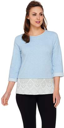 Logo By Lori Goldstein LOGO Lounge by Lori Goldstein French Terry Top with Embroidered Hem