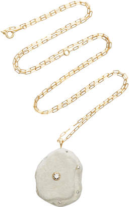 Cvc Stones One-of-a-Kind Chalky 18K Gold Stone And Diamond Necklace