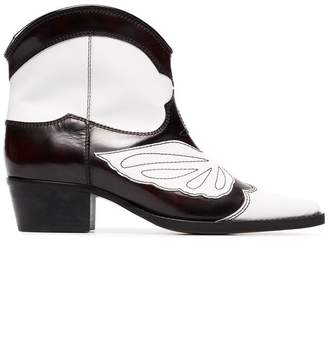 Ganni black and white meg 45 leather cowboy boots