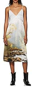 R 13 Women's Christine Forest-Print Satin Slipdress - Dk. Green