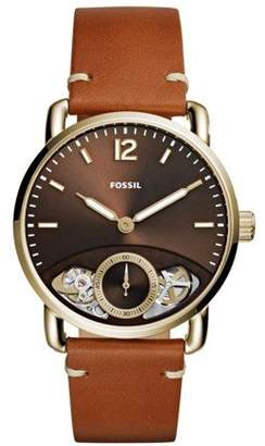 Fossil Men's 'The Commuter Twist' Quartz Stainless Steel and Leather Casual Watch