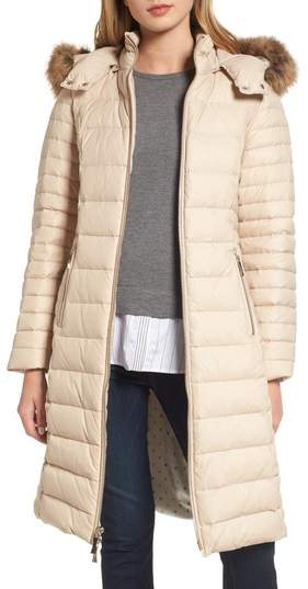 Women's Kate Spade New York Down Puffer Coat With Faux Fur Trim