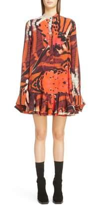 Alexander McQueen Butterfly Print Ruffle Hem Silk Dress