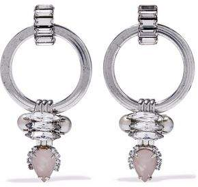 Elizabeth Cole Silver-Tone Crystal Stone And Faux Pearl Earrings