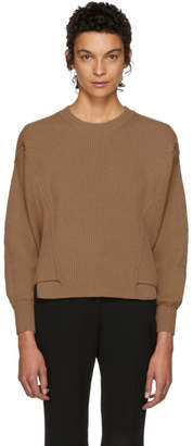 Stella McCartney Brown Ribbed Crewneck Sweater