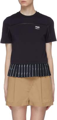 3.1 Phillip Lim Fila X Logo print pleated hem T-shirt