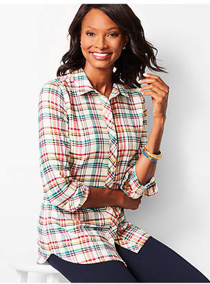 Talbots Classic Cotton Shirt - Poppy Plaid