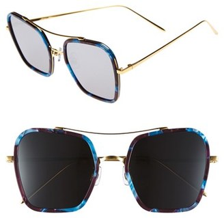 Women's Gentle Monster 53Mm Retro Square Sunglasses - Blue/ Burgundy/ Black Mirror $305 thestylecure.com