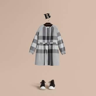 Burberry Collarless Check Drawcord Cotton Voile Dress , Size: 8Y, Blue