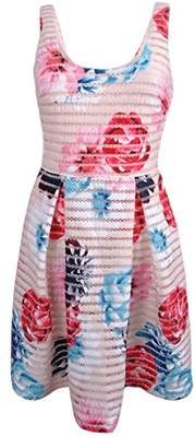 GUESS Women's Tetured Fit and Flare Dress with Floral Print