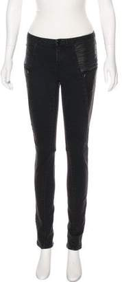 Tory Burch Leather-Trimmed Mid-Rise Jeans
