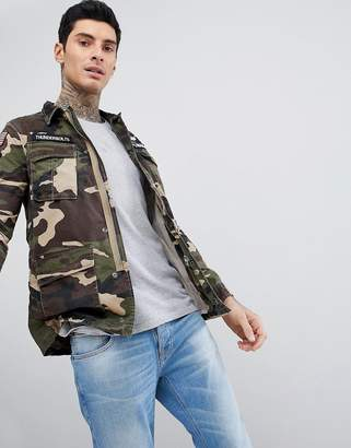 Schott Williams M65 Military Camo Print Jacket With Badges In Green