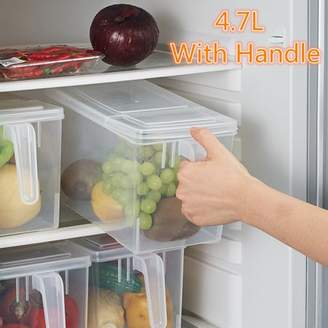 Generic 4.7L Refrigerator and Freezer Wide Storage Box Kitchen Food Storage Bin Sealed Crisper Food Pantry Refrigerator Preservation Case Storage Bin With Handle + Lid Cover