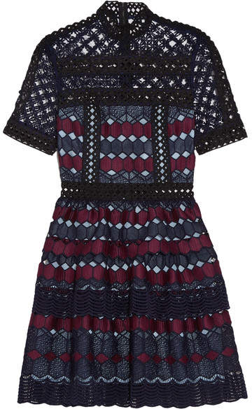 Self-Portrait - Ruffled Guipure Lace Mini Dress - Navy