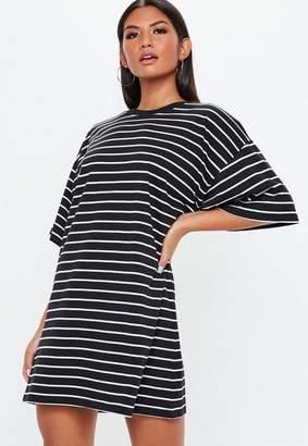 Missguided Black Oversized Short Sleeve Stripe T Shirt Dress