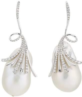 Samira 13 Women's Baroque Pearl & White Diamond Drop Earrings