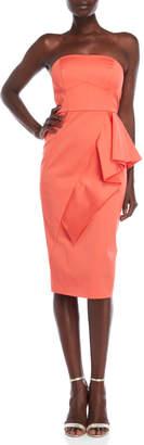Shoshanna Elisa Strapless Ruffle Midi Dress