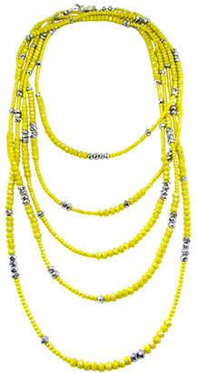 Dripping In Gems Yellow Iridescent Rondelle Strand Necklace