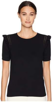 Kate Spade Key Pieces Ruffle Short Sleeve Sweater Women's Sweater