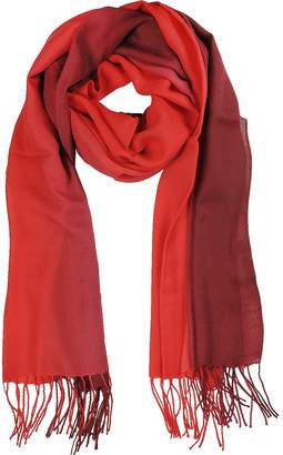 Mila Schon Gradient Burgundy/Red Wool and Cashmere Stole