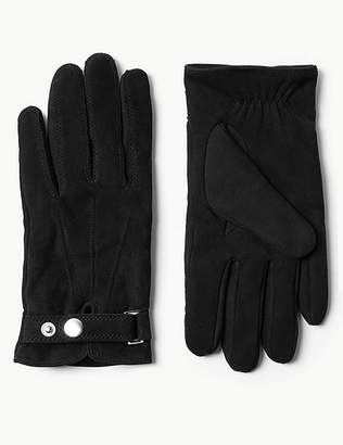Marks and Spencer Leather Press Stud Gloves with ThinsulateTM