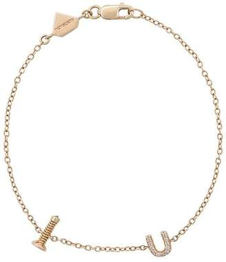 Alison Lou 14kt gold and diamond Screw U bracelet