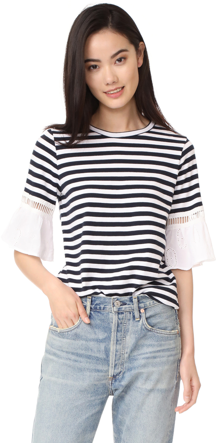Clu Clu Striped Top with Contrast Ruffles